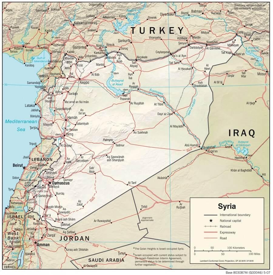 Mapa Fizyczna Syrii