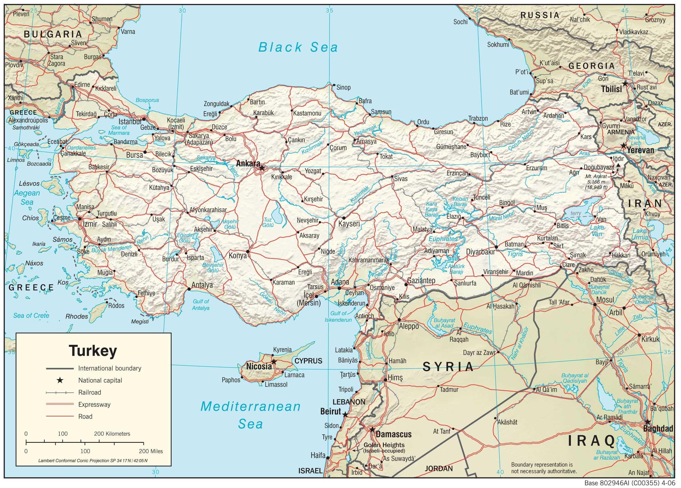 Mapa fizyczna Turcji