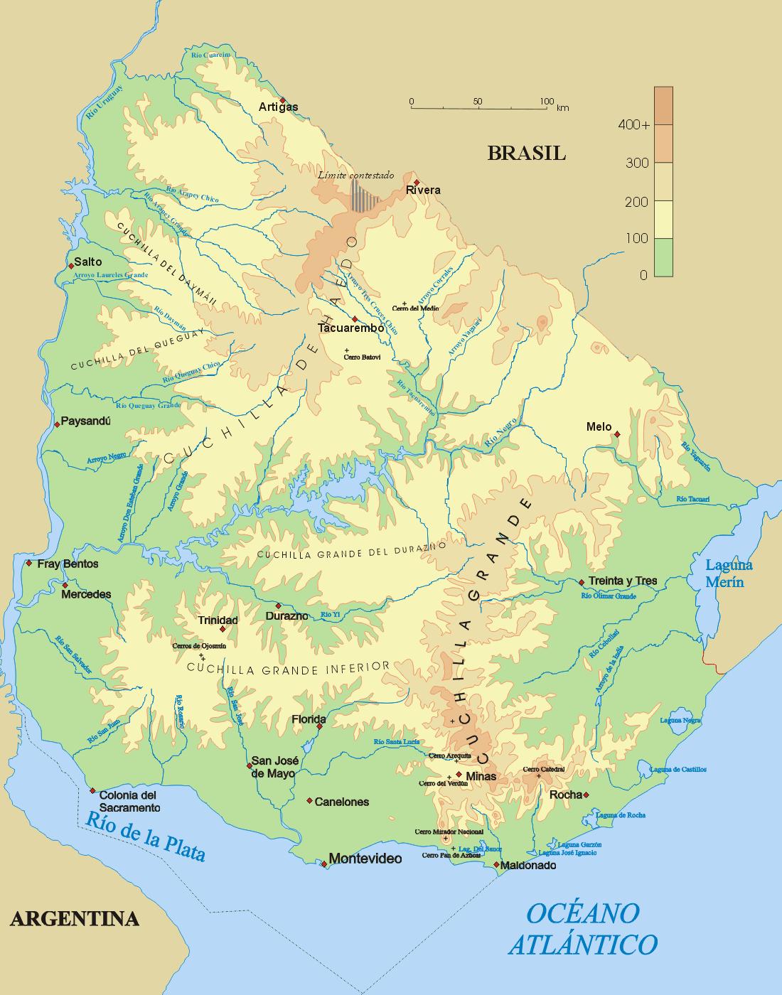 Mapa fizyczna Urugwaju