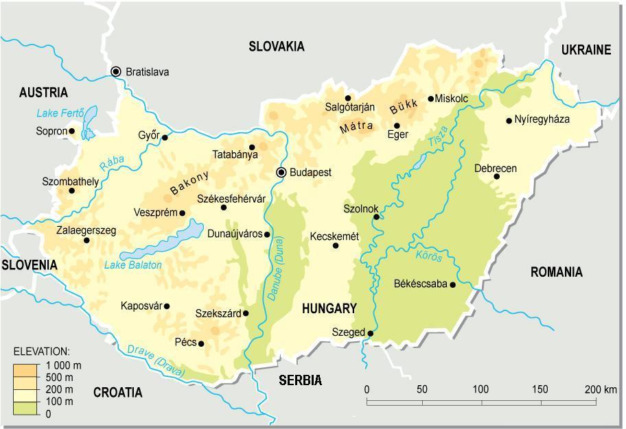 Mapa fizyczna Węgier