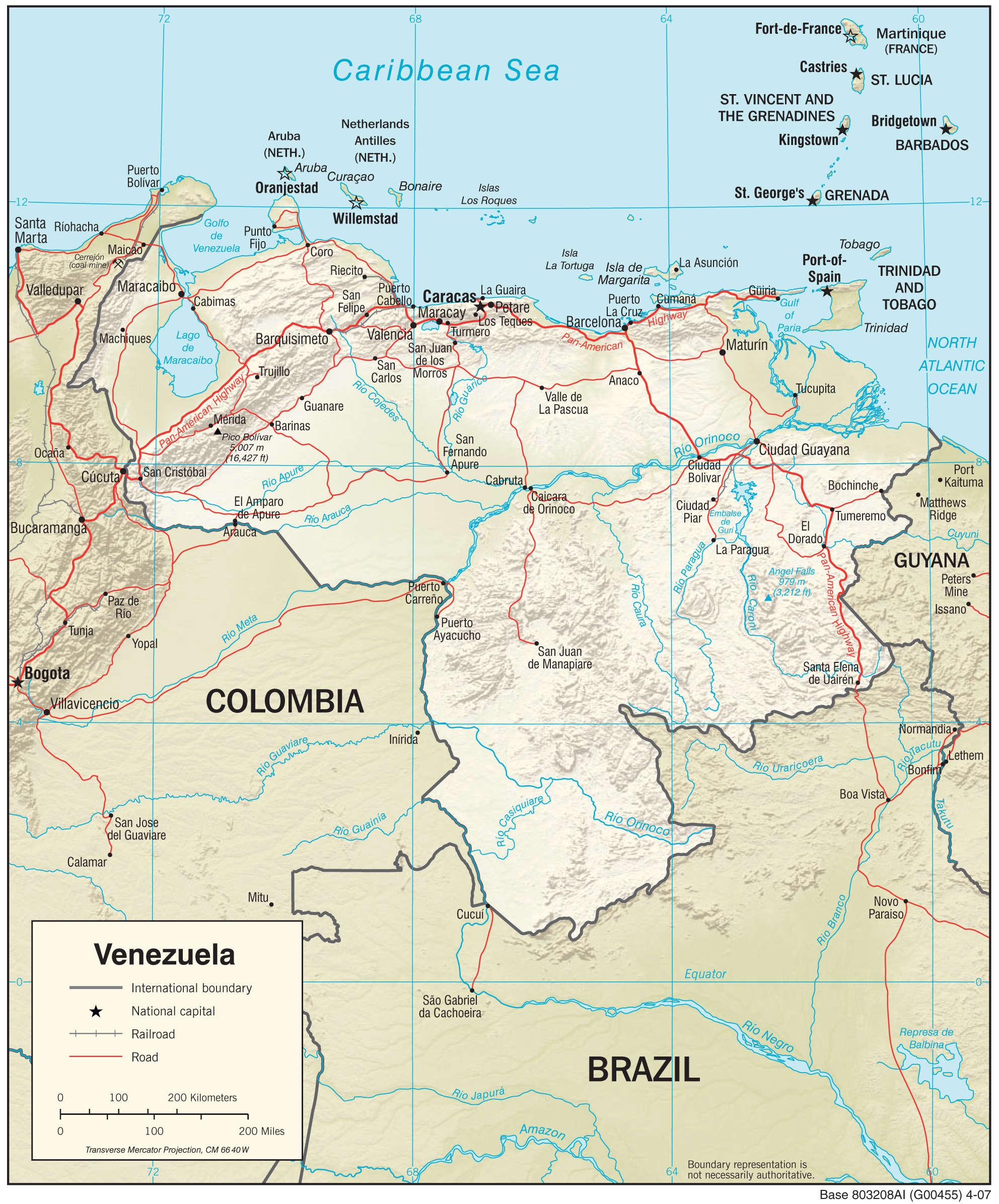 Mapa fizyczna Wenezueli