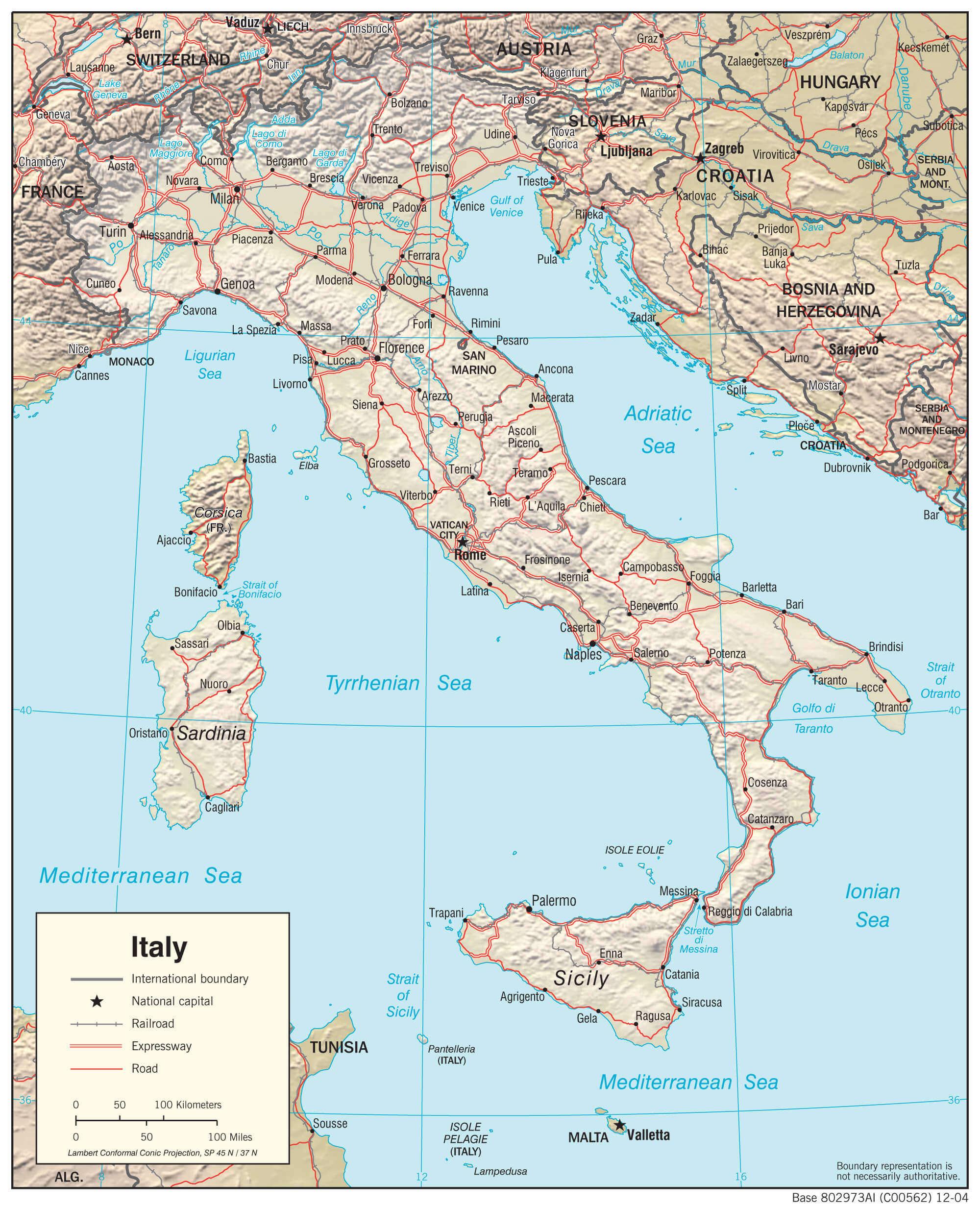 Mapa fizyczna Włoch