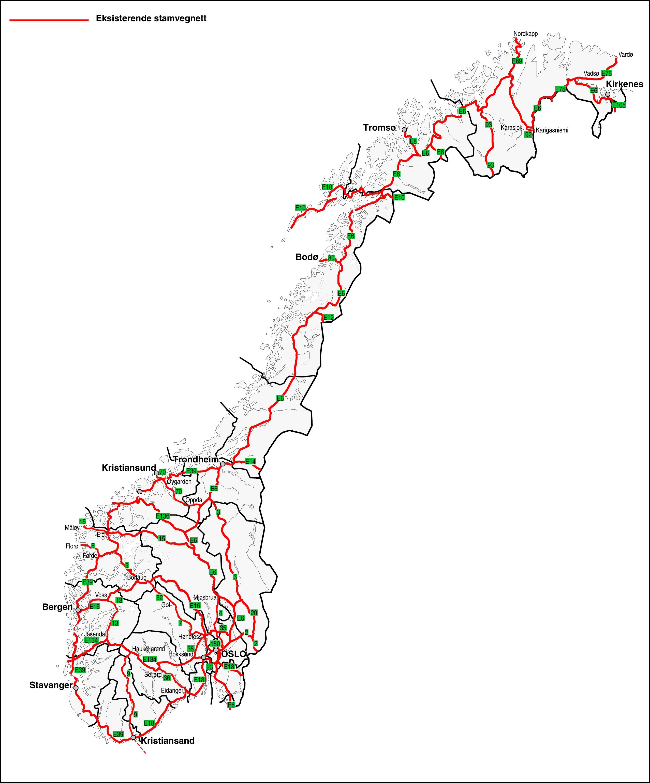 Mapa głównych dróg Norwegii