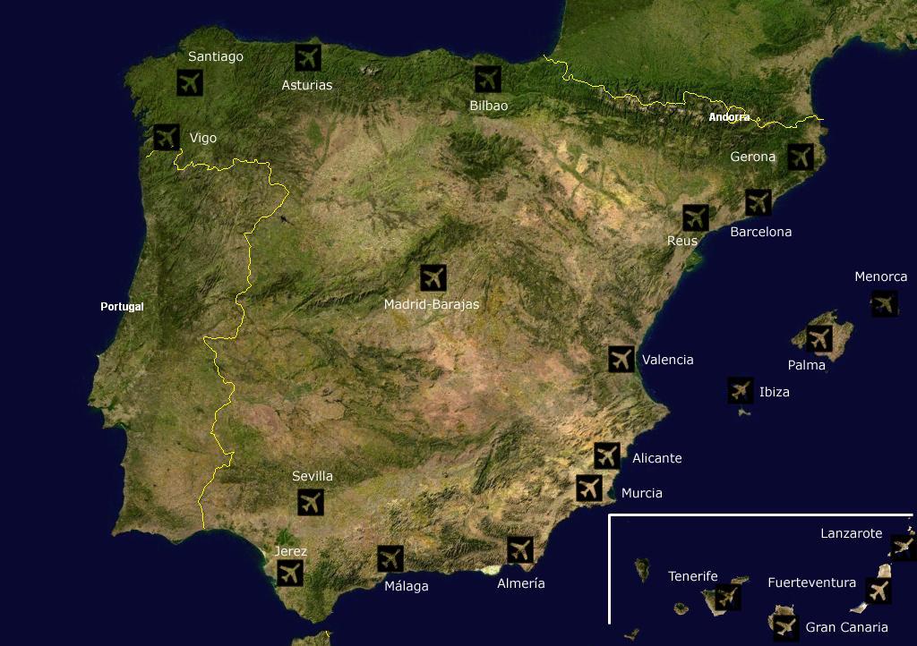 Mapa głównych lotnisk Hiszpanii