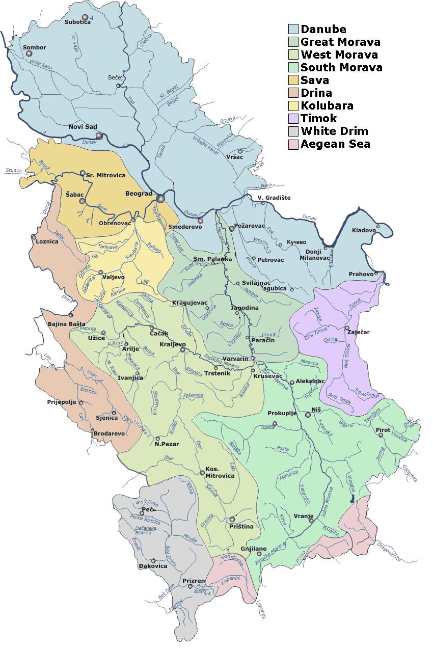Mapa głównych rzek w Serbii