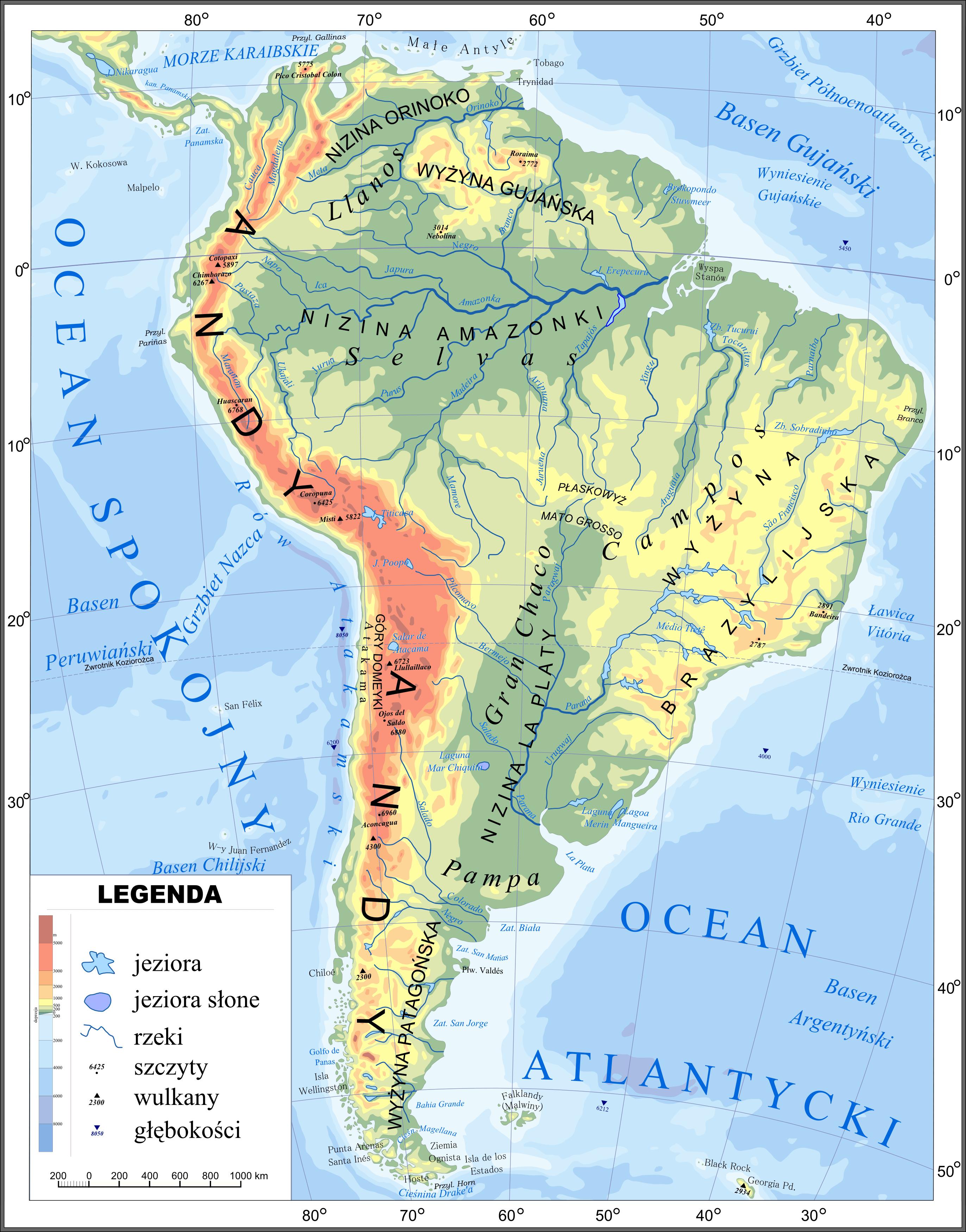 Mapa hipsometryczna Ameryki Południowej