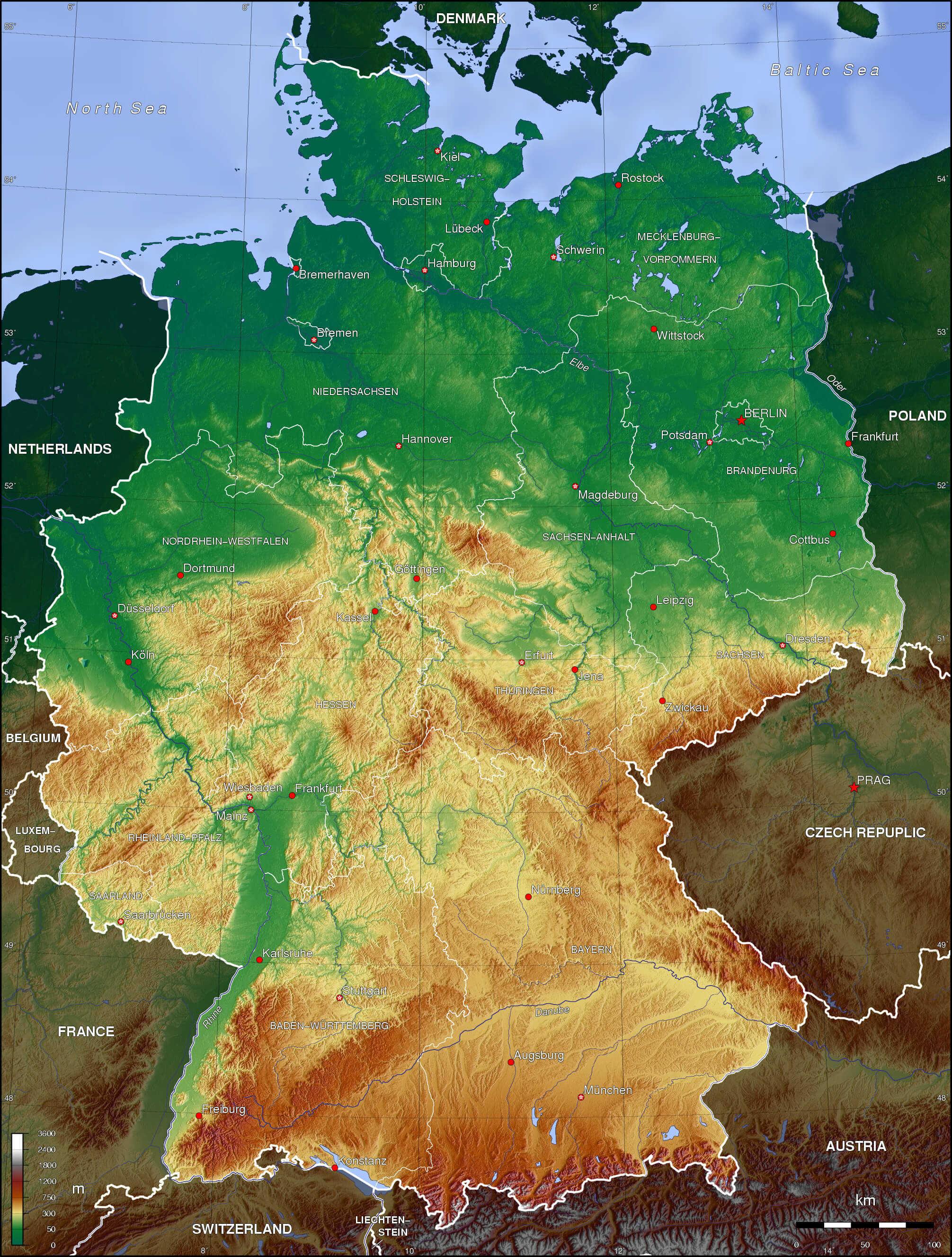 Niemiec bawaria mapa Stan Bawaria,