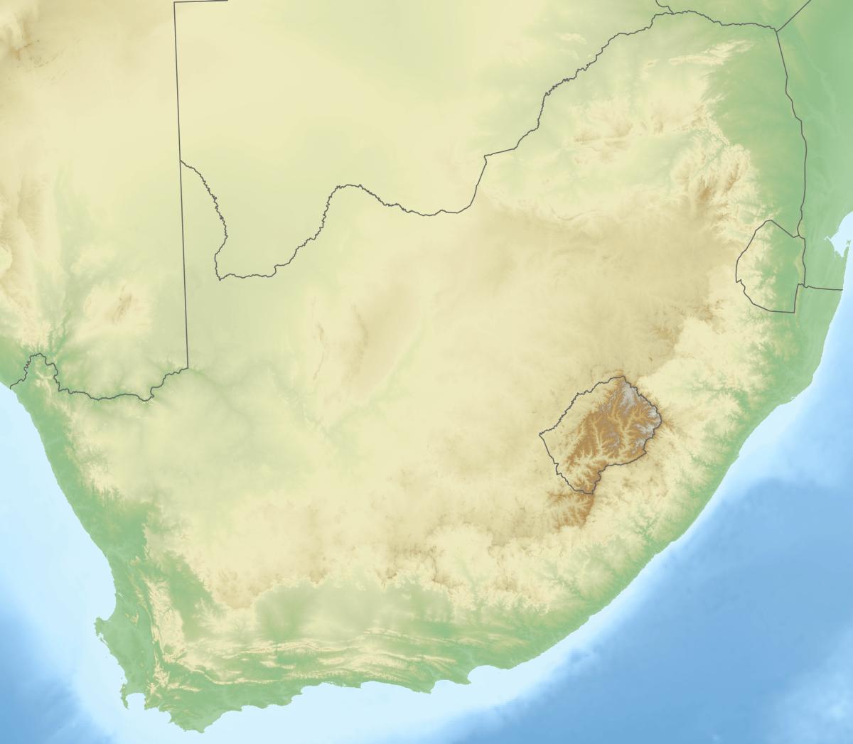 Mapa hipsometryczna RPA