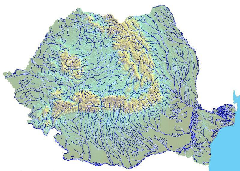 Mapa hydrograficzna Rumunii