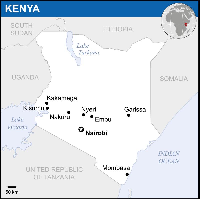 Mapa Kenii - największe miasta