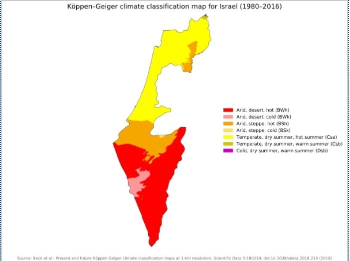 Mapa klimatyczna Izraela