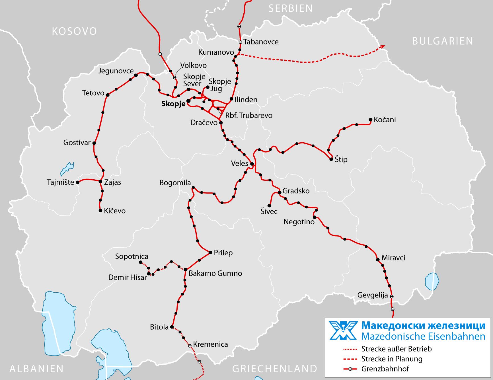 Mapa kolejowa Macedonii