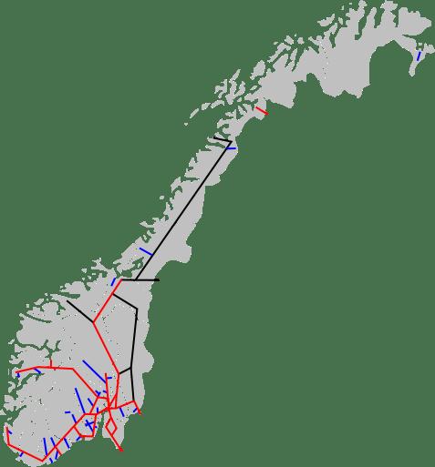 Mapa linii kolejowych Norwegii
