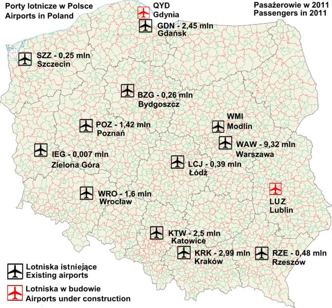 Mapa lotnisk w Polsce