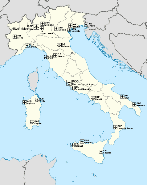Mapa największych portów lotniczych we Włoszech