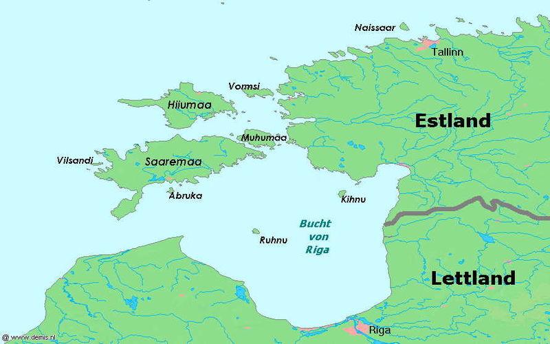 Mapa największych wysp Estonii