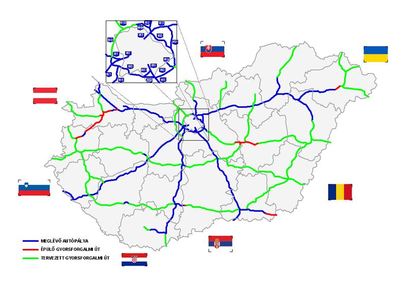 Mapa obecnych i planowanych autostrad na Węgrzech