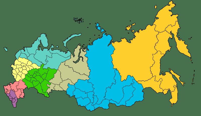 Mapa okręgów federalnych Rosji