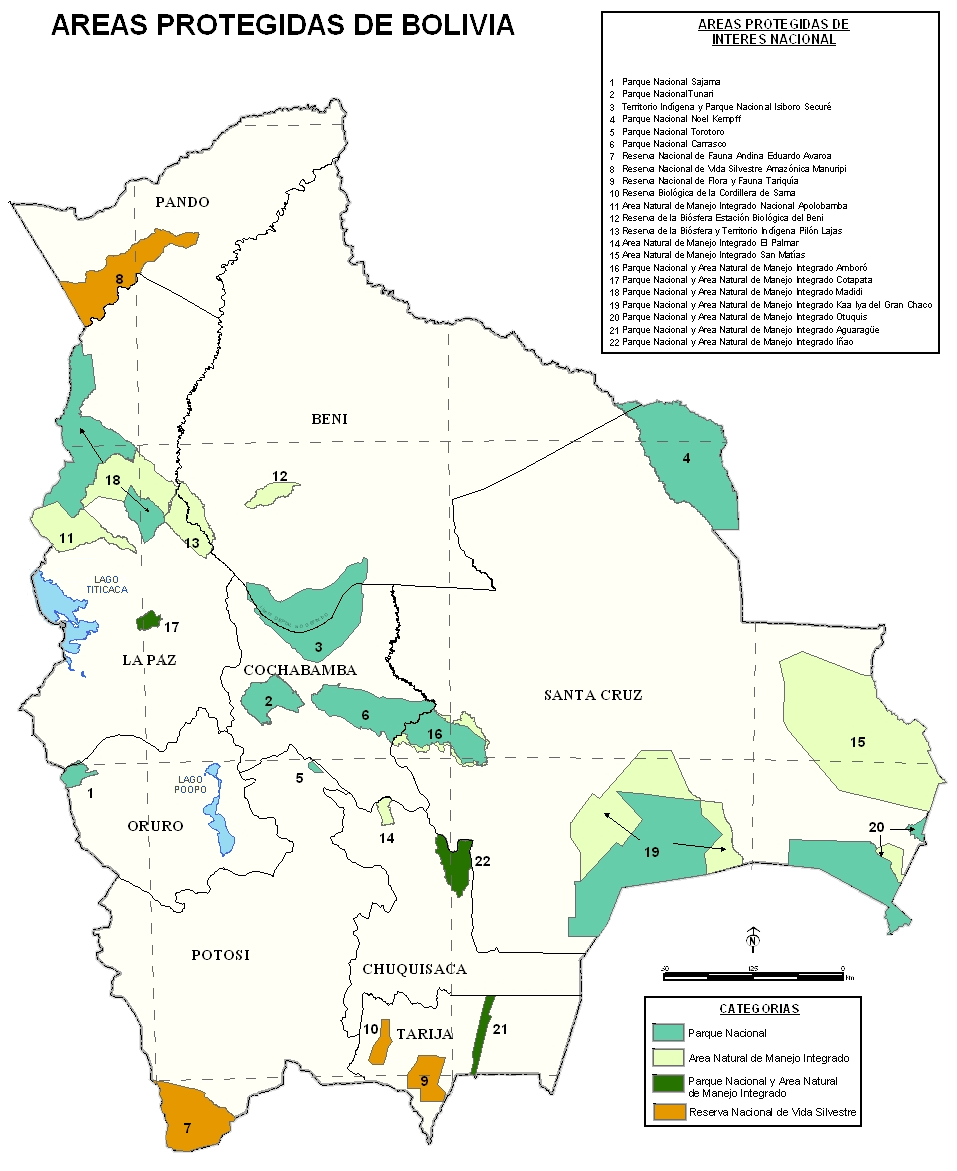 Mapa parków narodowych Boliwii