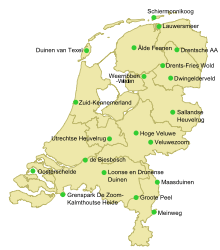 Mapa parków Narodowych Holandii