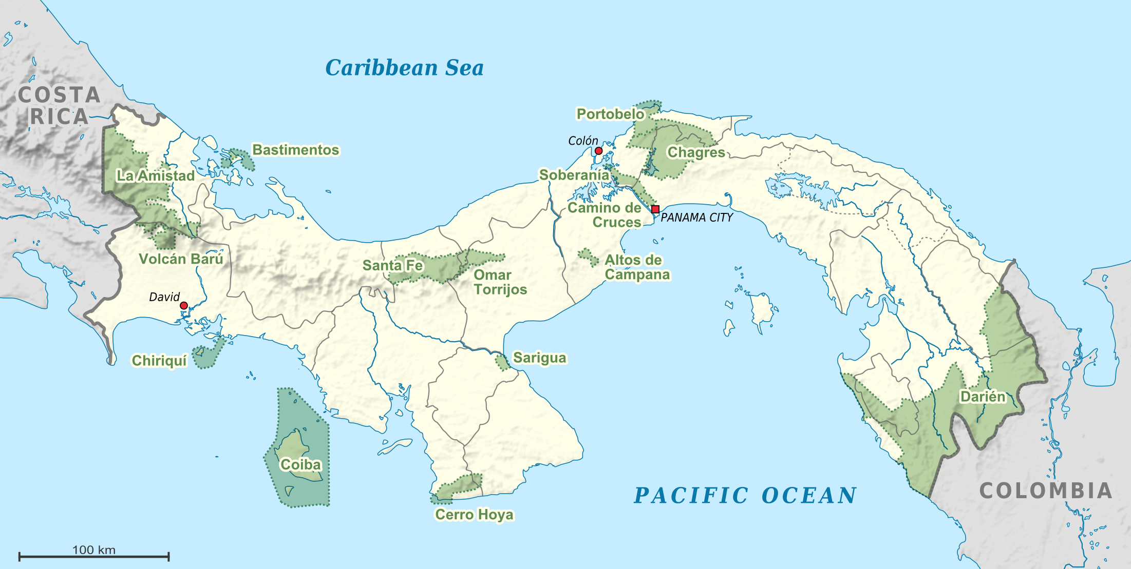 Mapa Parków Narodowych Panamy