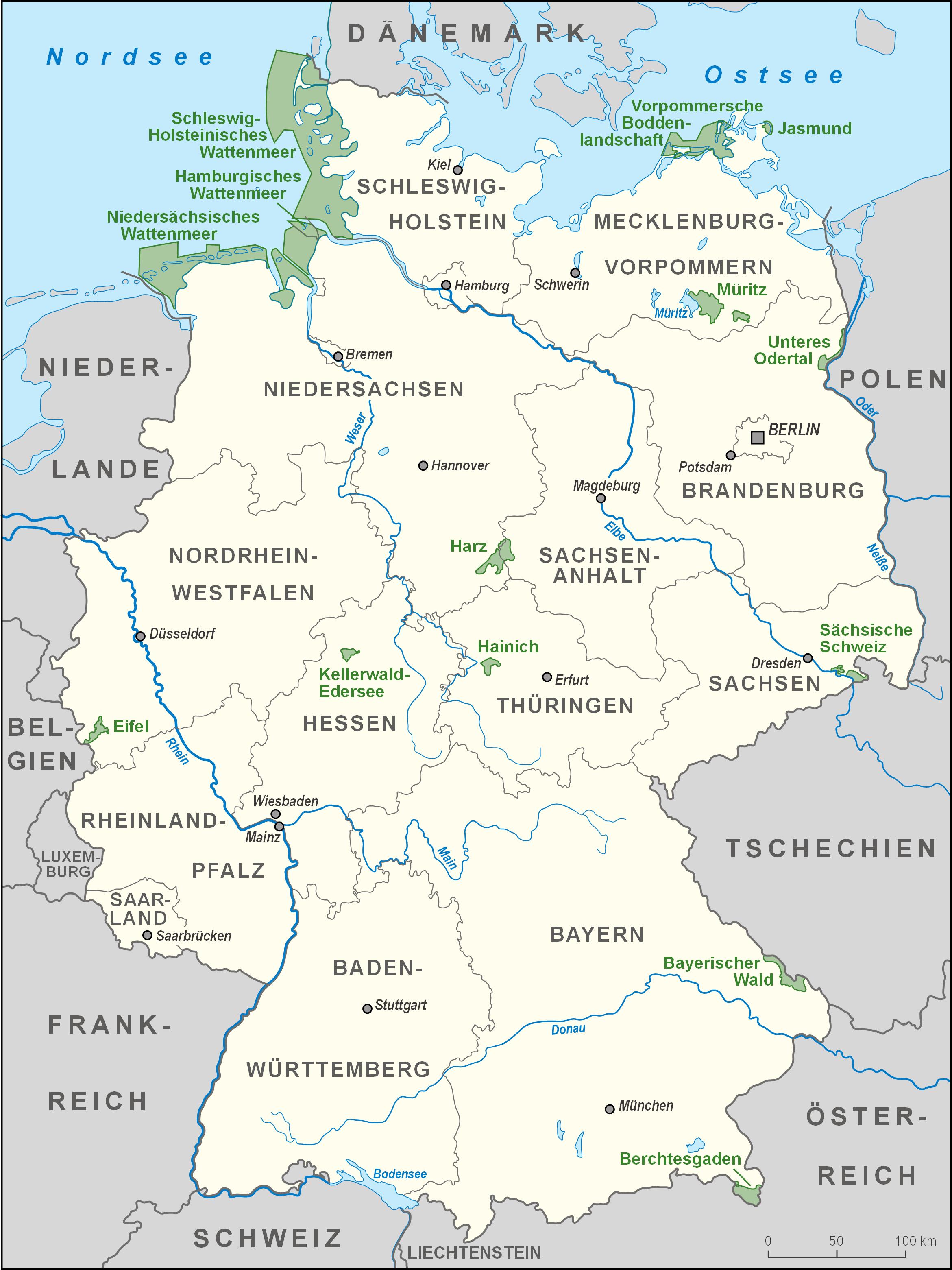 Mapa Parków Narodowych w Niemczech
