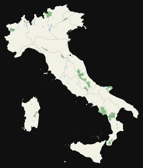 Mapa parków narodowych Włoch