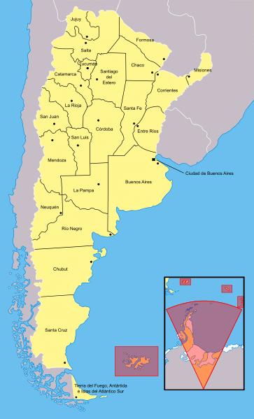 Mapa podziału administracyjnego Argentyny