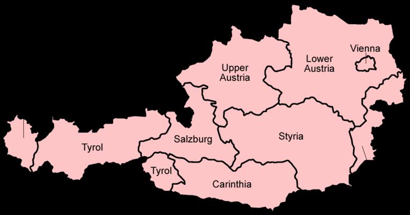 Mapa podziału administracyjnego Austrii