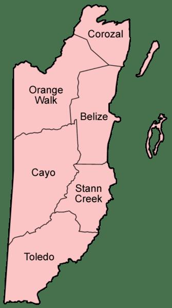 Mapa podziału administracyjnego Belize