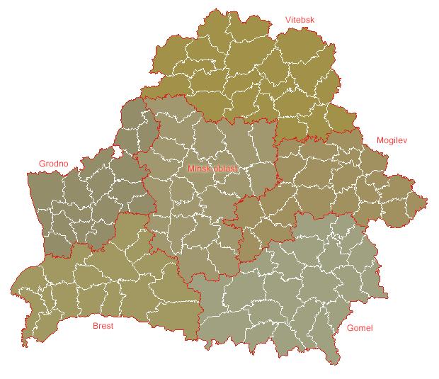 Mapa podziału administracyjnego Białorusi