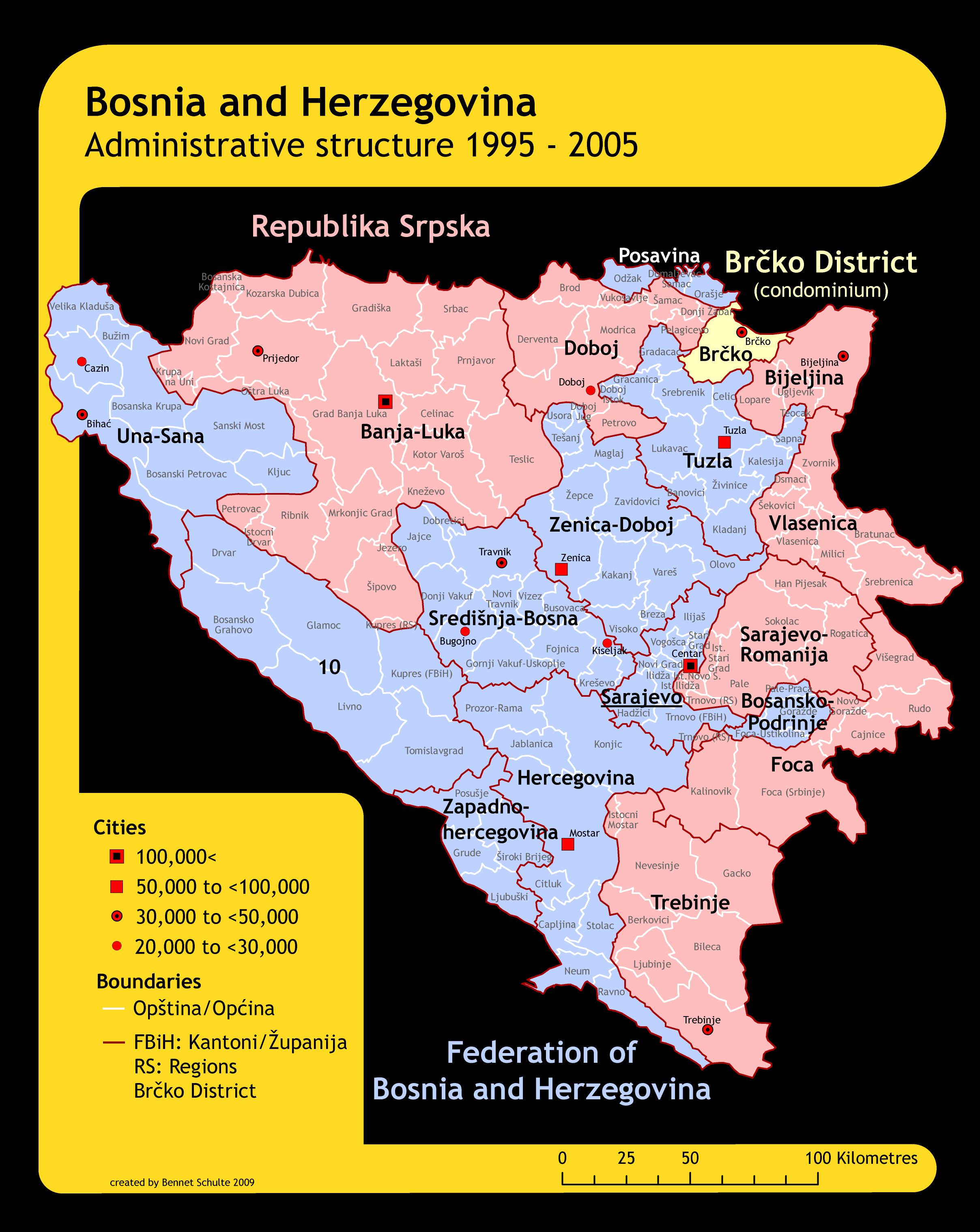Mapa podziału administracyjnego Bośni i Hercegowiny w 2005 roku