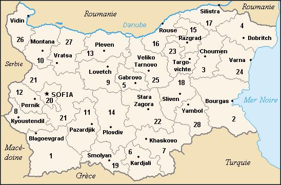 Mapa podziału administracyjnego Bułgarii