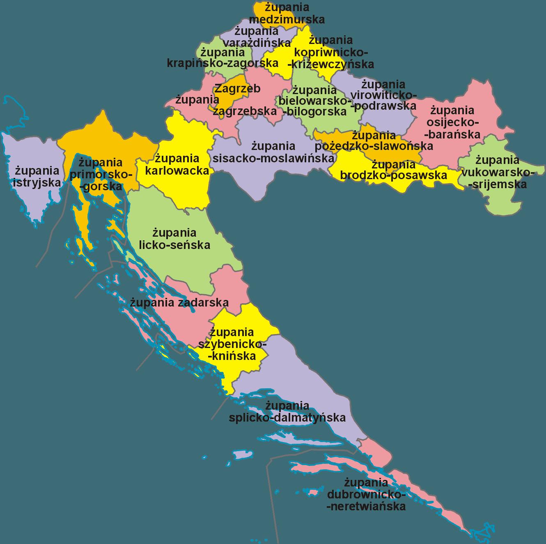 Mapa podziału administracyjnego Chorwacji