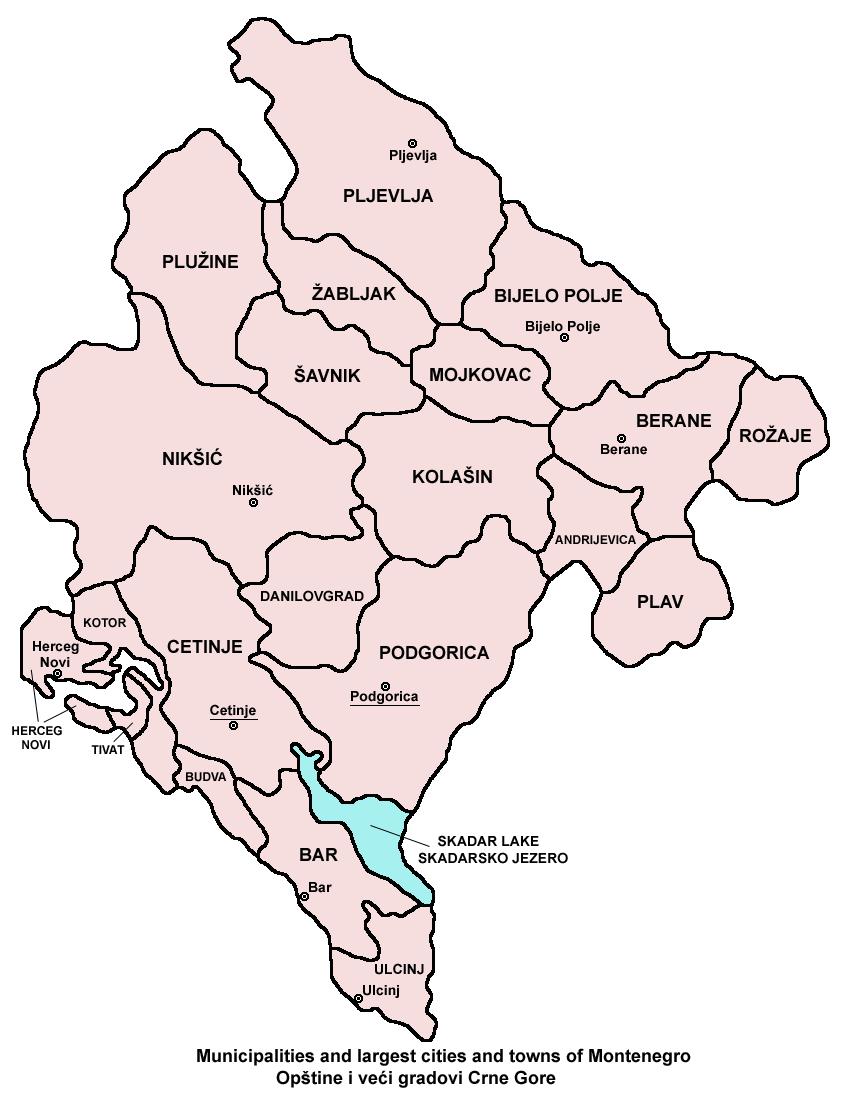 Mapa podziału administracyjnego Czarnogóry