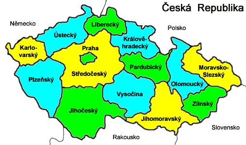 Mapa podziału administracyjnego Czech