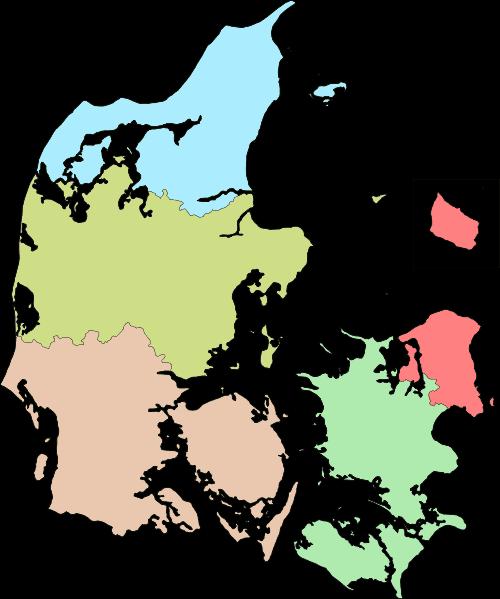 Mapa Danii - podział administracyjny