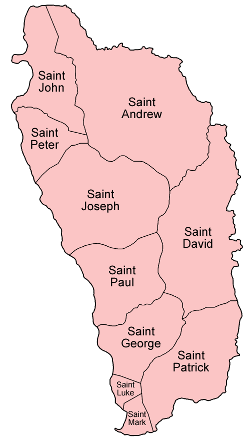Mapa podziału administracyjnego Dominiki