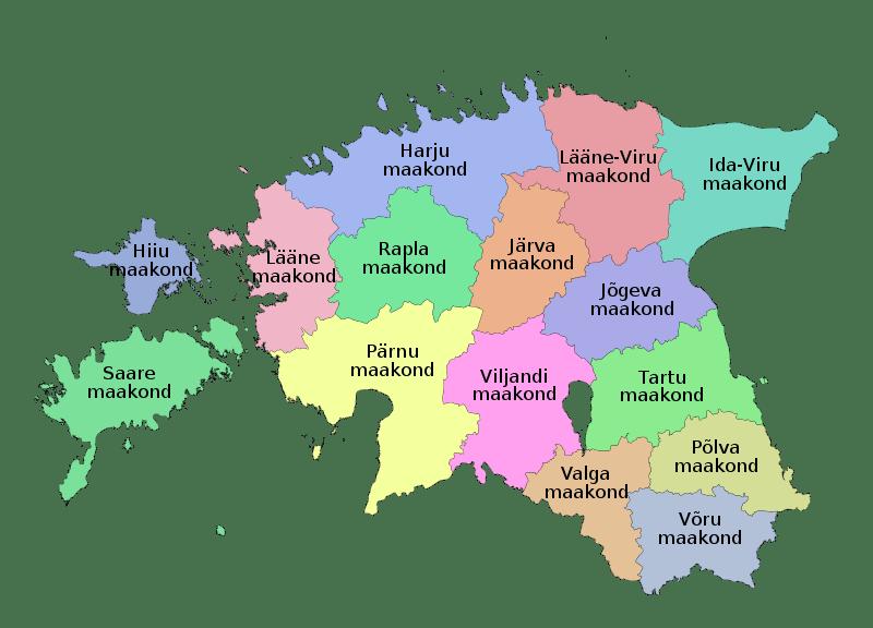 Mapa podziału administracyjnego Estonii