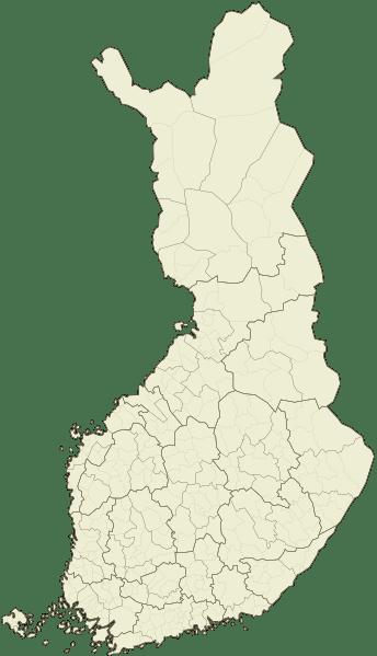 Mapa podziału administracyjnego Finlandii