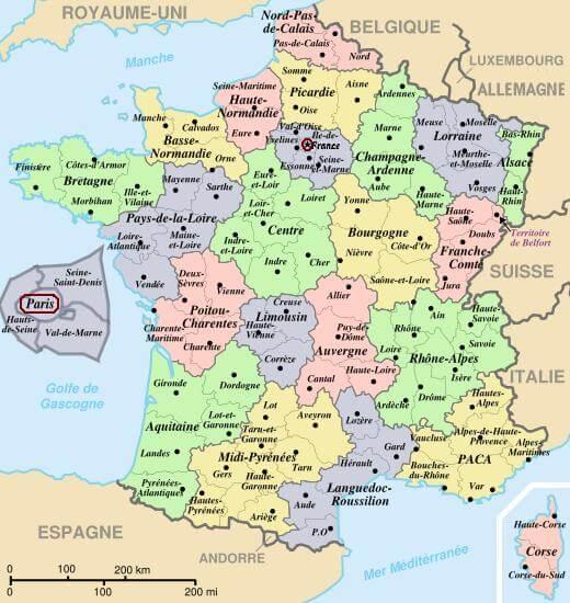 Mapa podziału administracyjnego Francji