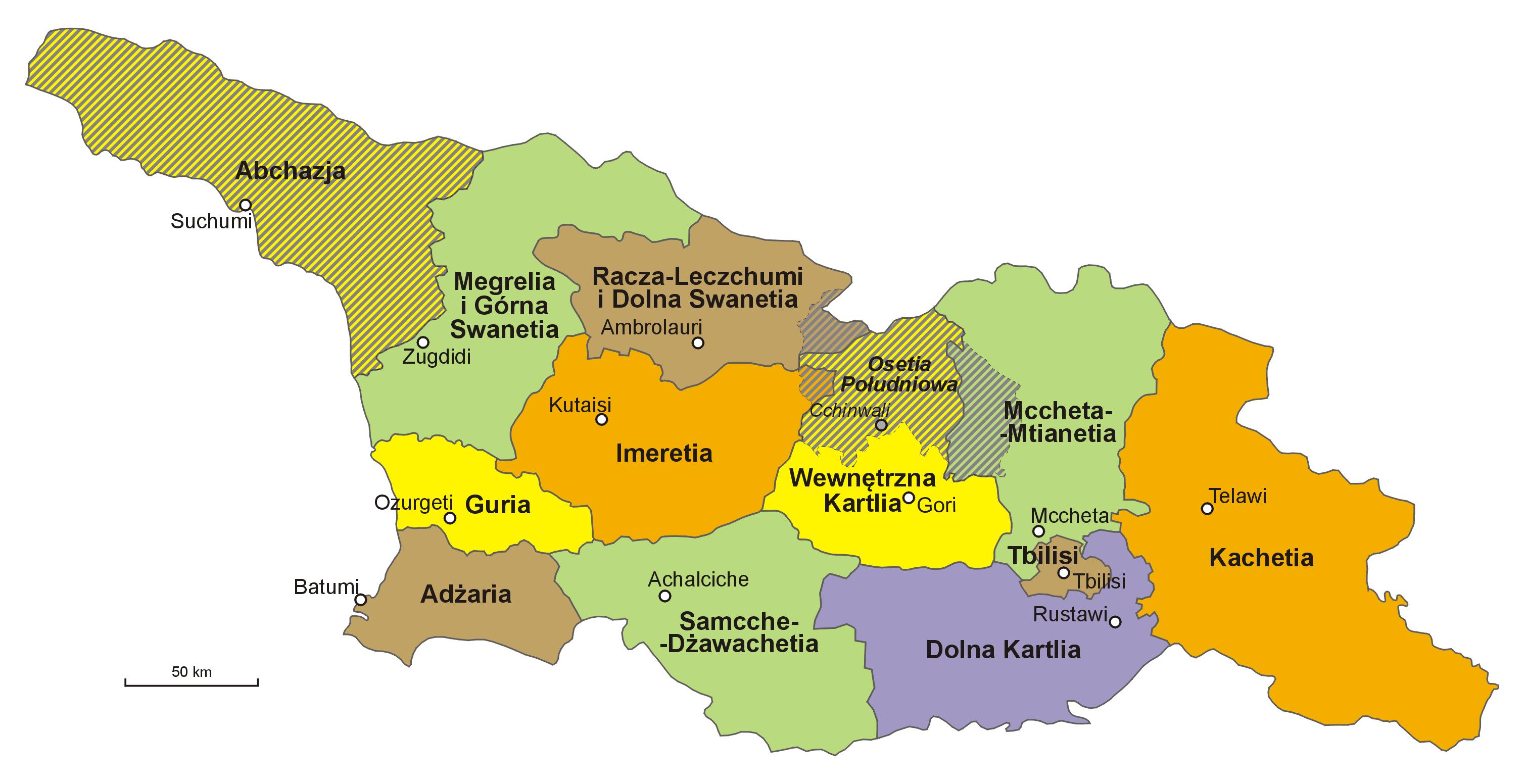 Mapa podziału administracyjnego Gruzji
