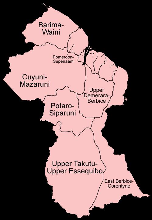 Mapa podziału administracyjnego Gujany