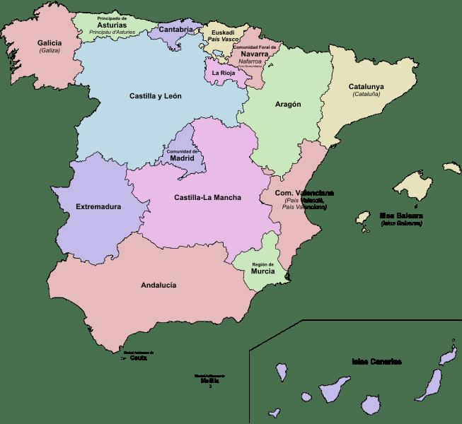 Mapa podziału administracyjnego Hiszpanii