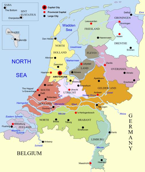 Mapa podziału administracyjnego Holandii