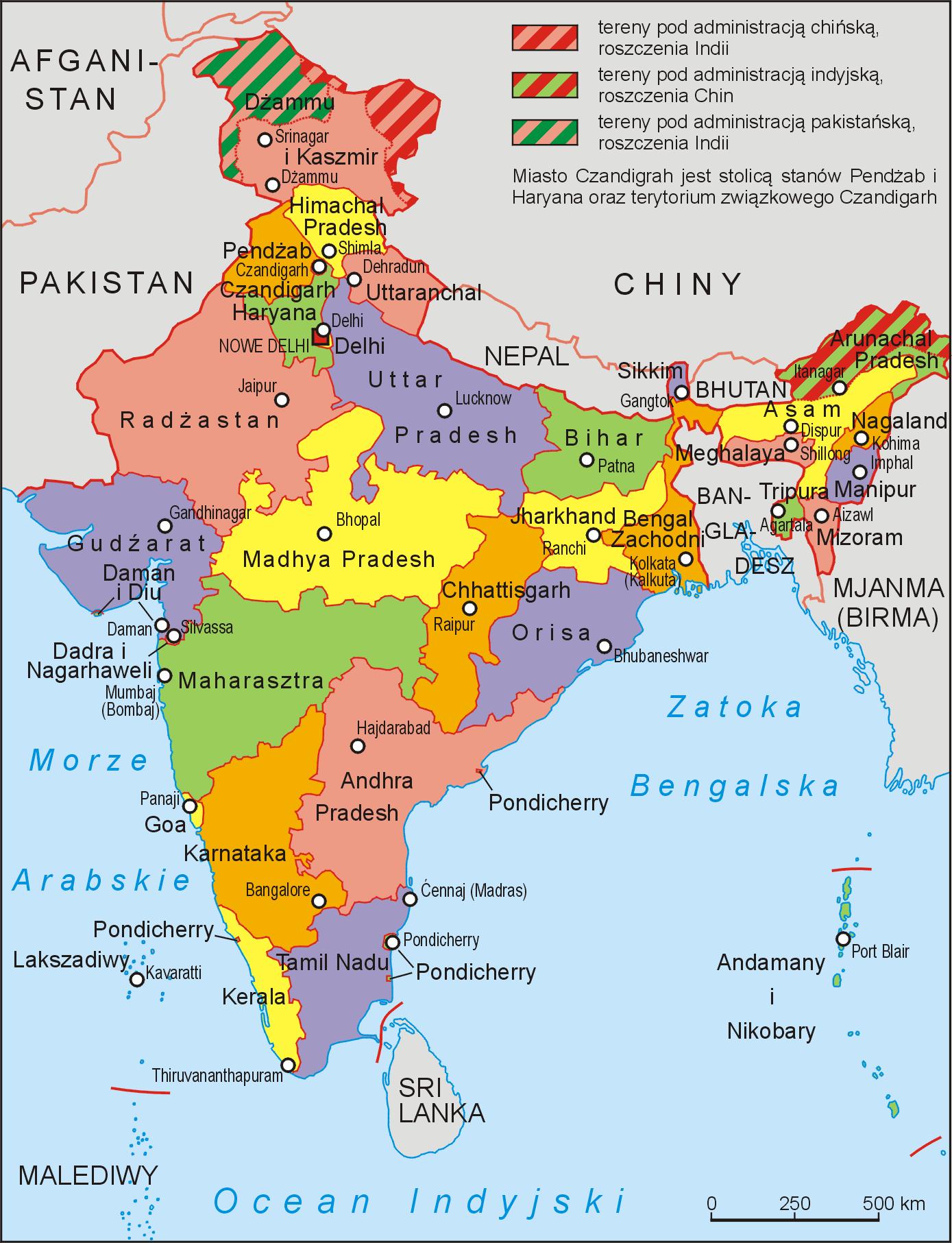 Mapa podziału administracyjnego Indii