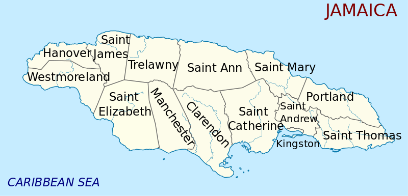 Mapa podziału administracyjnego Jamajki