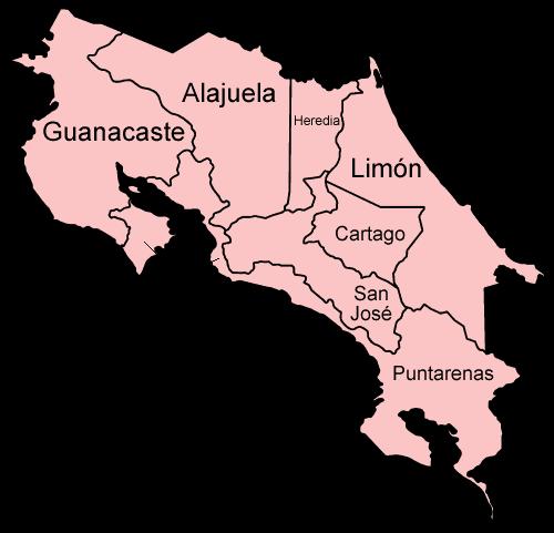 Mapa podziału administracyjnego Kostaryki