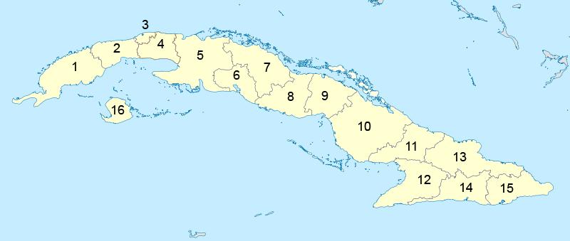 Mapa podziału administracyjnego Kuby