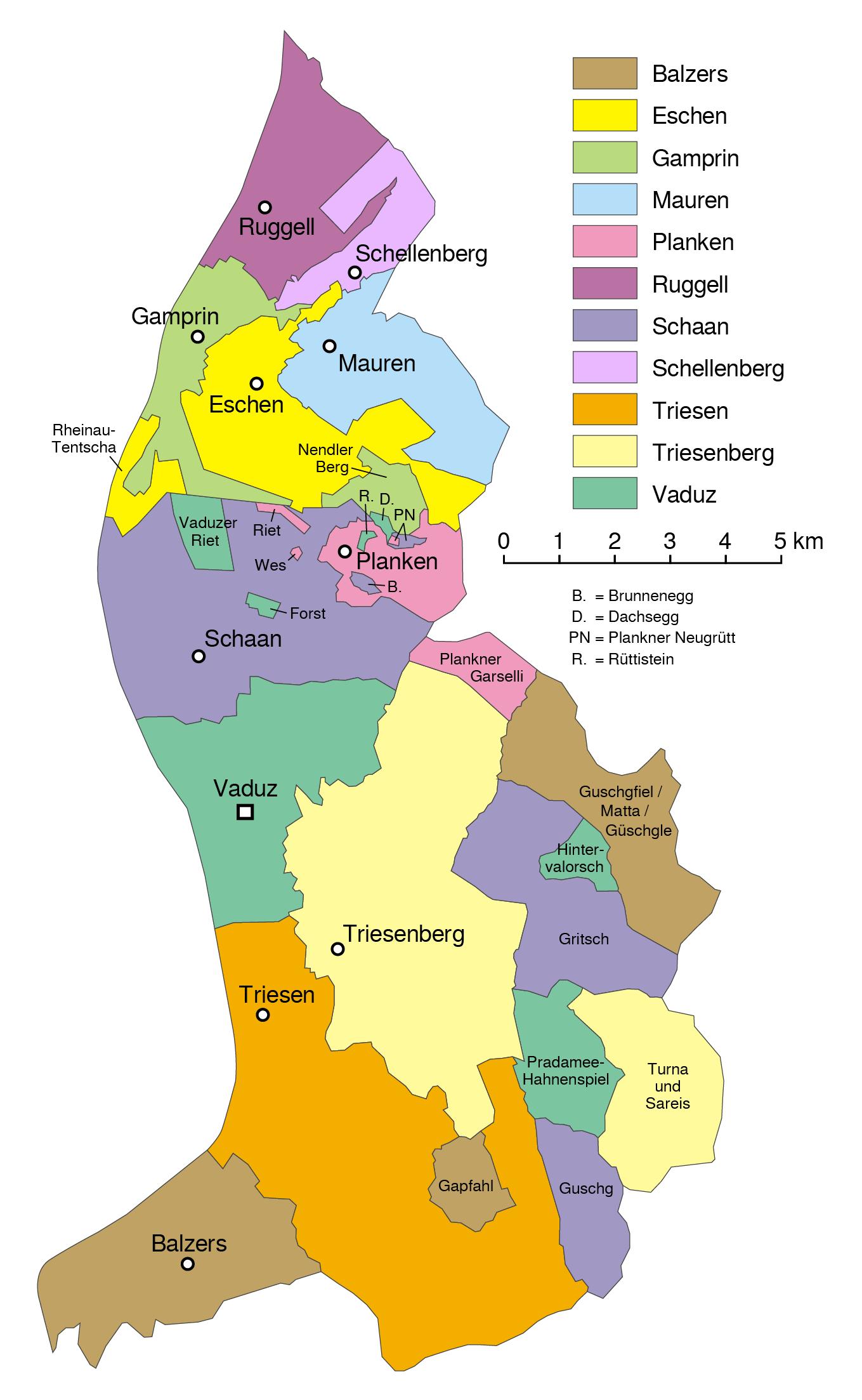 Mapa podziału administracyjnego Liechtensteinu